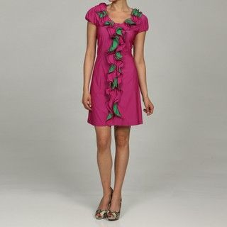 Argenti Womens Pink Two tone Ruffle front Dress