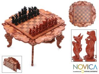 Wood Kingdom of the Pigs Chess Set (Indonesia)