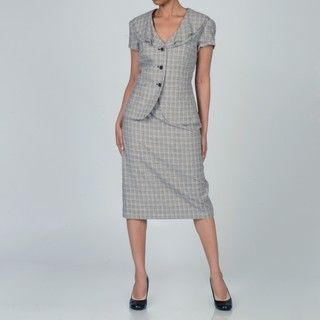 NYP Suits Womens Plaid Skirt Suit