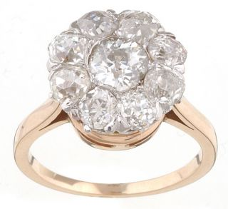 14k Gold 1920s Old Mine 3ct TDW Diamond Cluster Ring (J, SI1
