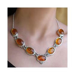 Sterling Silver Honey Love Amber Necklace (India)