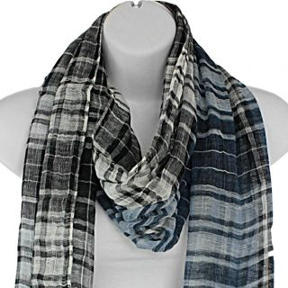 Hand woven Silk Blue and Black Plaid Scarf (India)