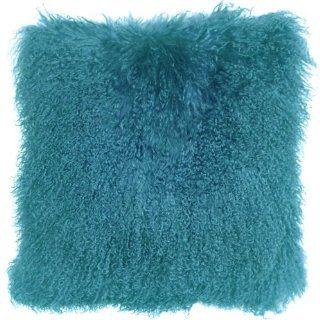 Pillow Decor   Mongolian Sheepskin Teal Blue 18 x 18
