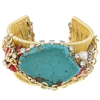 Goldtone Magnesite, Coral and Crystal Wire Cuff Bracelet