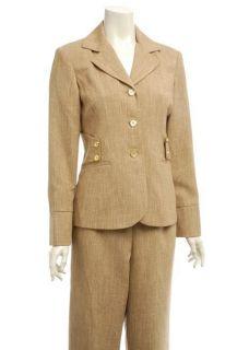 Divine Apparel Womens Khaki Classic Pant Suit