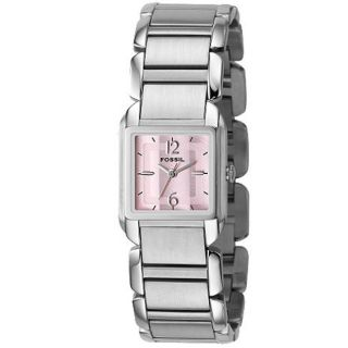 Fossil Womens Pink Dial Stainless Steel Analog Watch