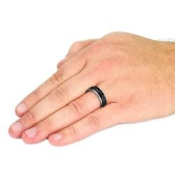 Mens Tungsten Carbide Black Multi faceted Spinner Ring (8 mm