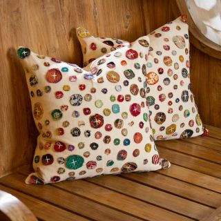 Set of Two Cotton Gudari Buttons Cushion Covers (India)