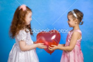 Two little girl hold red balloon  Stock Photo © Vadim Ponomarenko