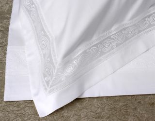 Frette Completo Letto Lace Border 600 tc Queen Sheet Set