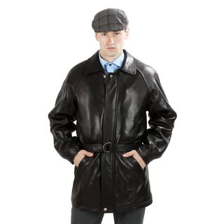United Face Mens Lambskin Leather Belted Coat