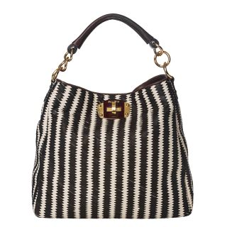 Miu Miu Black/ White Woven Leather Hobo Bag