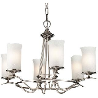 Antique Silver 6 light Hand blown Scavo Glass Shade Chandelier