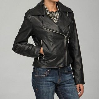 Izod Womens Lamb Leather Zipper Jacket