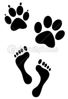 Human and animal foot steps print  Stock Vector © Biljana Kordic