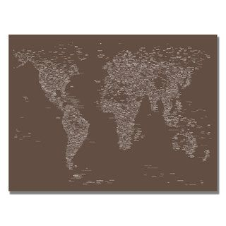 Michael Tompsett Font World Map IV Canvas Art