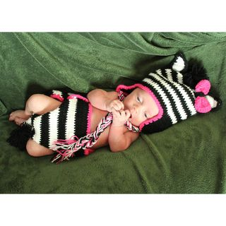 Girls Baby Zebra Zeb Crocheted Beanie and Diaper Set