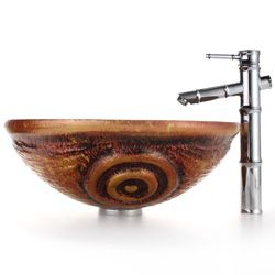 Kraus Tiger Eye Clear Glass Sink/ Bamboo Bathroom Faucet