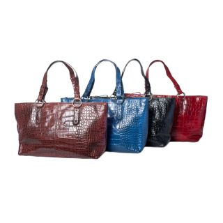 Michael Rome Patent Croco embossed Leather Tote Bag