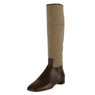 Prada Womens Brown Logo Jacquard Canvas Boots