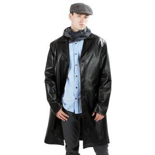 United Face Mens Black Lambskin Leather Coat