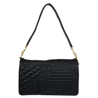 Versace Black Embroidered Leather Shoulder Bag