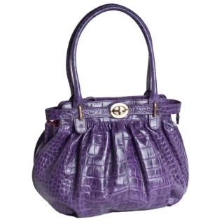 Michael Rome Croco Embossed Purple Tote with Turn Lock