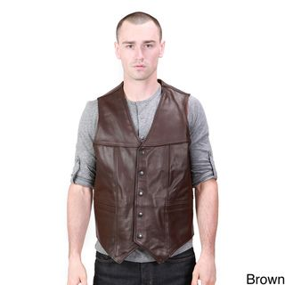 United Face Classic Mens Leather Biker Vest