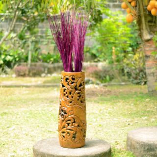 Aged Coconut Wood Carved Urn (Indonesia)