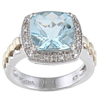 14k Yellow Gold and Silver Blue Topaz and Diamond Accent Ring