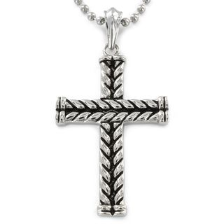 West Coast Jewelry Stainless Steel Antiqued Braided Cross Pendant