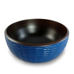 Deep Blue Mango Wood 3 piece Serving Bowl Set (Thailand)