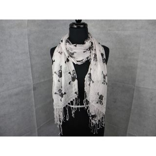 White Skull And Cross Bones Fashion Scarf