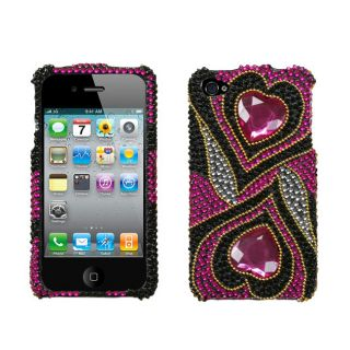 Premium Apple iPhone 4/ 4S Hot Pink Double Heart Rhinestone Case