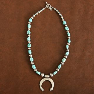 Vintage Silver Beads and Turquoise Naja Necklace (Native American