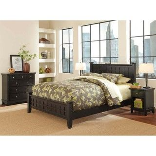 Home Styles Arts & Crafts Black 3 piece Queen size Bedroom Set