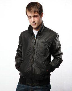 Ben Sherman Mens Denim Style Leather Jacket, Black, Large