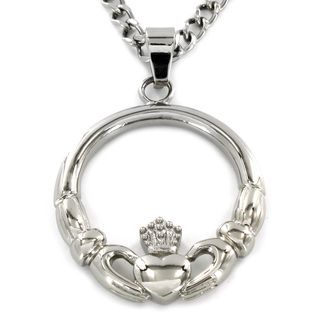 West Coast Jewelry Stainless Steel Claddagh Circle Pendant