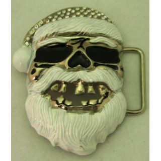 Skull Santa Claus Xmass Grill White Red Belt Buckle