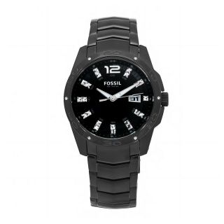 Fossil Mens Glitz Stainless Steel Black Dial Analog Watch