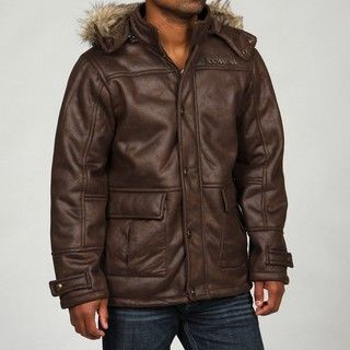 Rocawear Mens Removable Faux Fur Trim Hood Coat