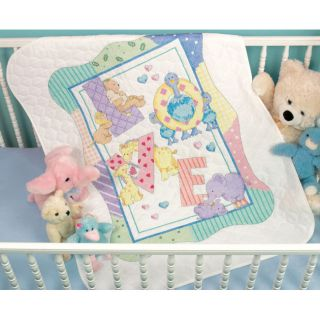 Baby Hugs Zoo Alphabet Quilt Stamped Cross Stitch Kit