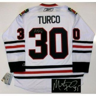 Marty Turco Signed Jersey   Chicago Blackhawks Rbk White