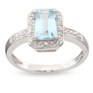 10k White Gold Blue Topaz and Diamond Accent Ring (G H, I2 I3