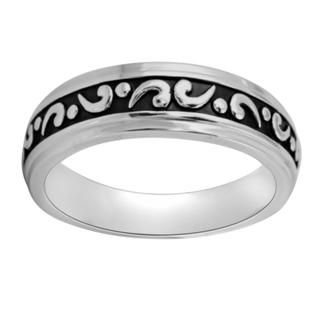 Sterling Silver Mens Engraved Black Antiqued Wedding style Ring