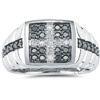 10k Gold Mens Black and White Cross Diamond Ring (G H, I1 I2