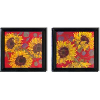 Shari White Sunflower I and II Framed 2 piece Canvas Art Set