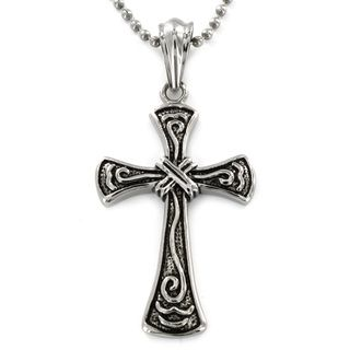 West Coast Jewelry Stainless Steel Wrap Design Antiqued Cross Pendant