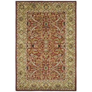 Handmade Heritage Treasures Red/ Gold Wool Rug (6 x 9)