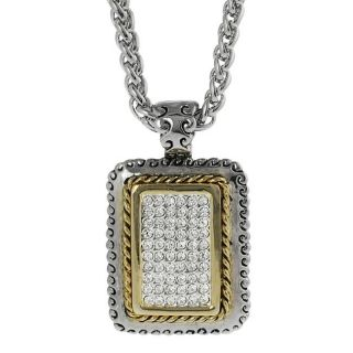 Journee Collection Two tone Pave set CZ Rectangular Necklace